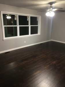 Refinished and stained 1950's wood flooring.