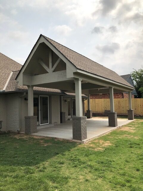 Outdoor Living - Cedar patio with new concrete and ceiling fans.