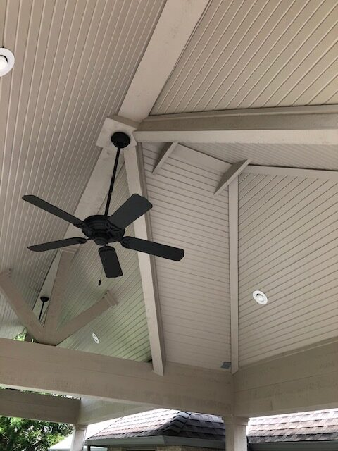 Outdoor Living - Cedar patio with new ceiling fan.