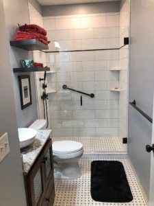 Shower Wall and Floor Tile, Vanity, Granite, and Shower Glass
