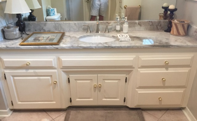 Vanity, Granite, Mirror, and Paint