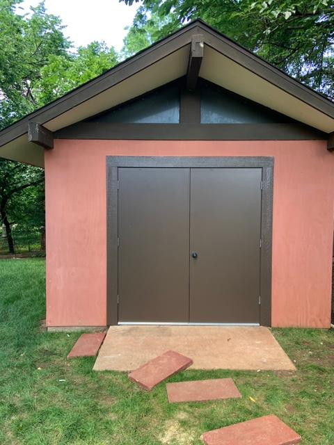New metal shed door, frame, and new paint.