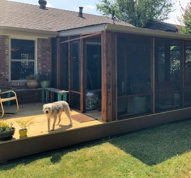 New screened in cedar patio and treated pine deck.