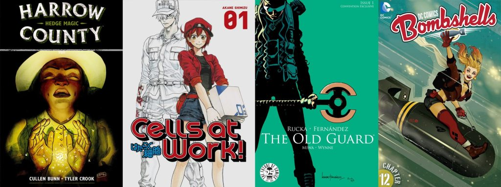 Harrow County, Cells at Work, Old Guard, and Bombshells