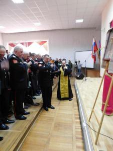 В Тимашевске состоялся приём в казаки учащихся техникума кадровых ресурсов