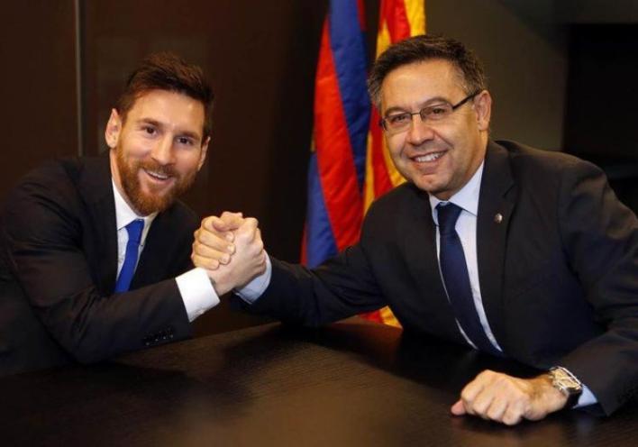 Messi x Bartomeu e Barcelona