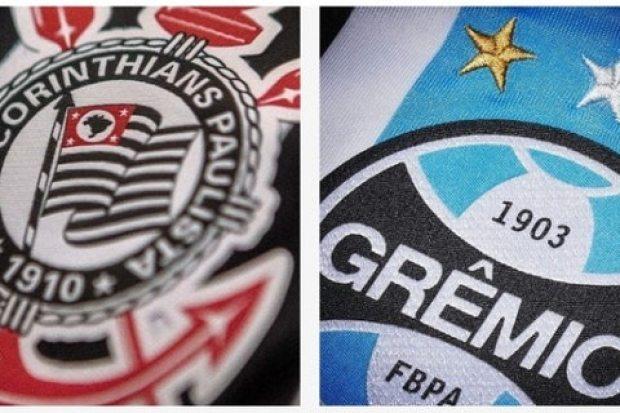 Brasões Corinthians e Grêmio.