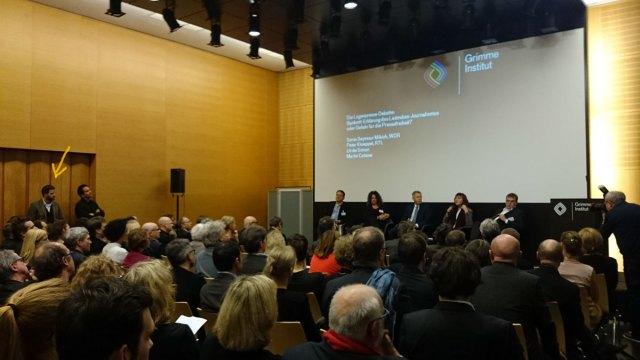 Sonia Mikisch und Peter Klöppel auf dem Podium des Bergfest der Grimme-Stiftung 2015