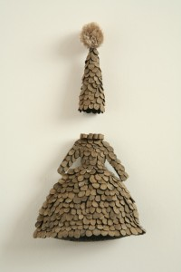 "Desert Fatigues 6 1/2"" X 3 1/2"" leather, thread, wool, felt 2013"