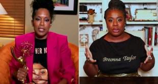 Regina King and Uzo Aduba wear shirts honoring Breonna Taylor during the Emmys