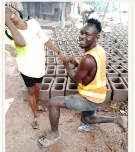 Amazing! And She said Yes, to a Block Factory Worker who Proposes to Her