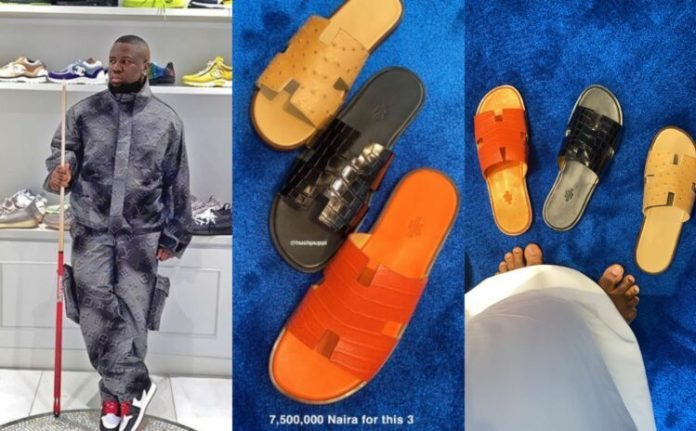 Nigerian-Dubai based big boy, Raymond Igbalodely, popularly known as Hushpuppi has taken to his Instagram page to flaunt the pairs of Hermes slippers he recently purchased for the sum of N7.5million. The fashionista who never stops making bold statements with his clothing and accessories showed off three pairs of Hermes men slippers he purchased at a whooping price of N7.5million. He revealed the price in one of the photos uploaded on his Instagram stories.