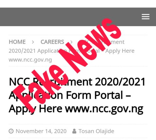 Fact Check : Is NCC Recruitment 2021 Form out?