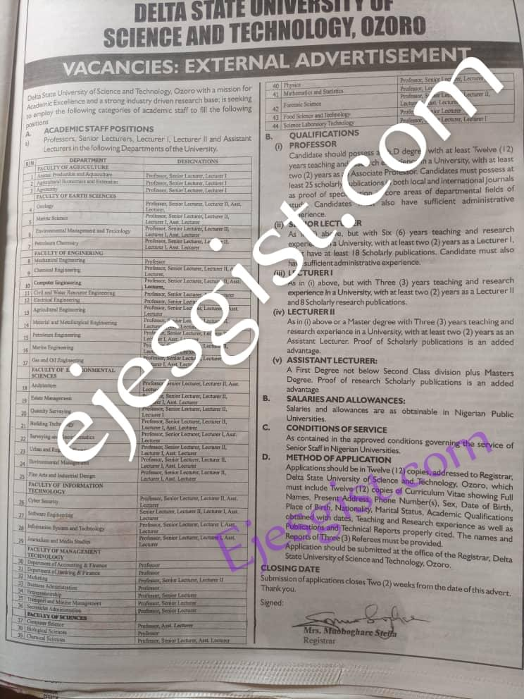 Delta State University Of Science And Technology Ozoro Recruitment for Academic Staff