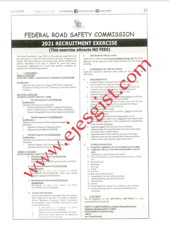 Federal Road Safety Corps FRSC Recruitment 2021