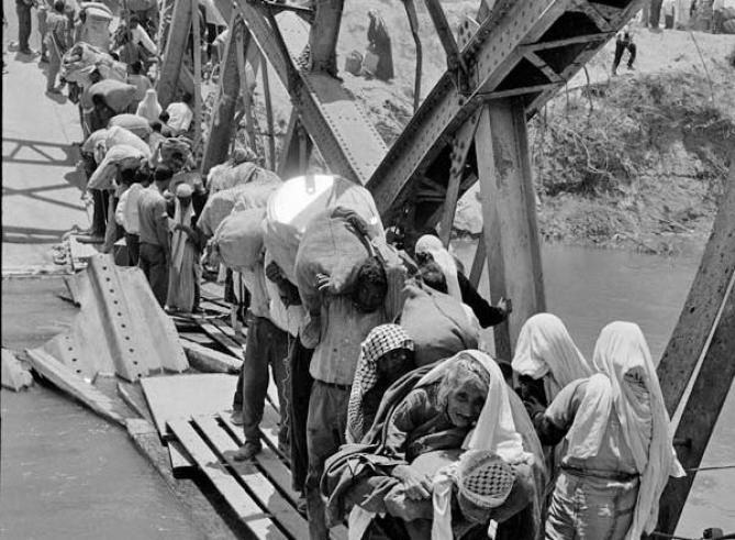 """Palestinian fleeing their homes across the Allenby bridge. The 1948 Palestinian exodus, also known as the Nakba (Arabic: النكبة, al-Nakbah, literally """"disaster"""", """"catastrophe"""", or """"cataclysm""""), occurred from December 1947 to January 1949 when more than 700,000 Palestinian Arabs were expelled from their homes, during the 1948 Palestine war. 600 Palestinian villages were sacked during the war, while urban Palestine was almost entirely extinguished."""