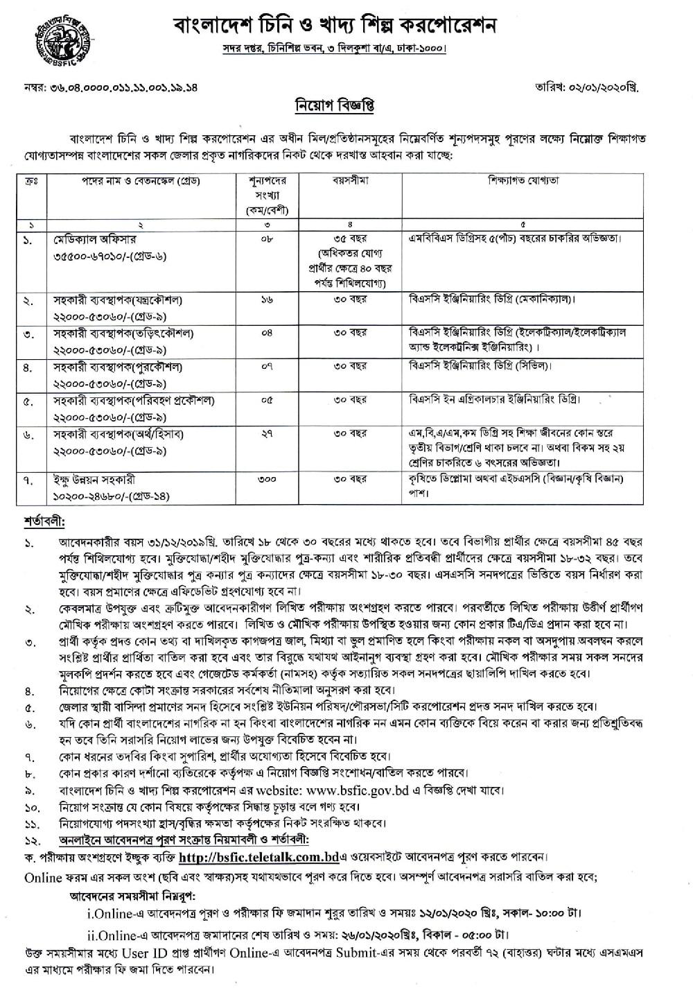 BSFIC Job Circular 2020