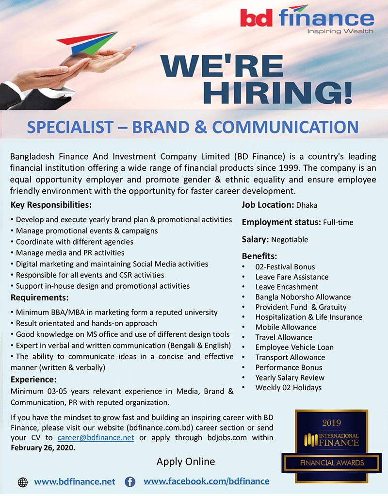 BD Finance Limited Job Circular