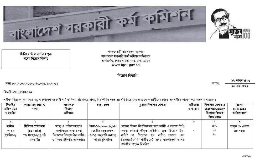 BPSC Job Circular 2020 - bpsc.gov.bd