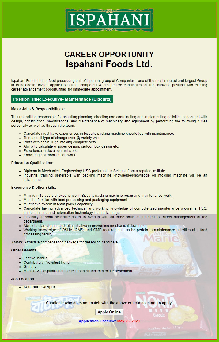 Ispahani Foods Ltd Job Circular