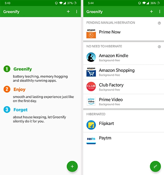 Greenify Apps Preview