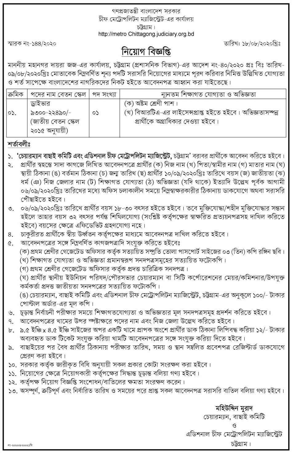 Chief Metropolitan Magistrate Office Job Circular 2020