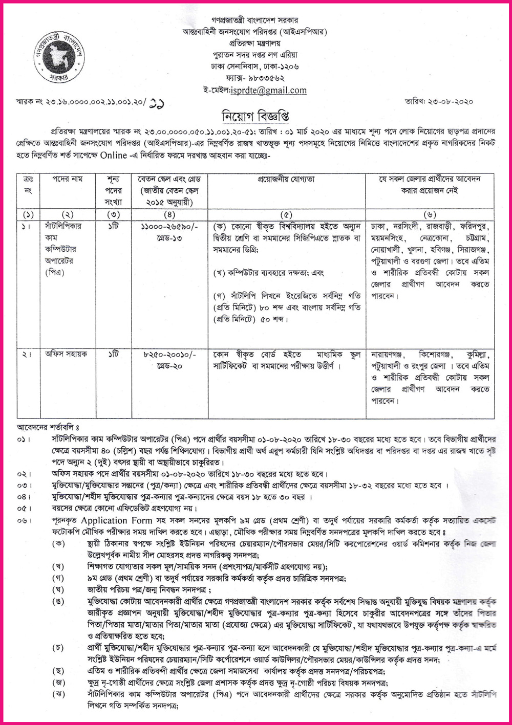 ISPR Job Circular Apply 2020 - ispr gov bd