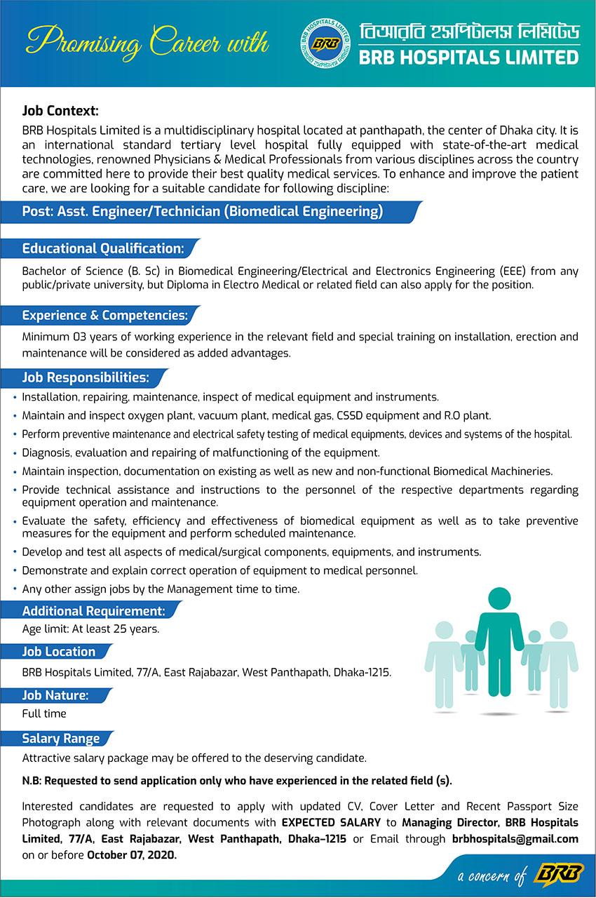 BRB Hospitals Limited Job Circular