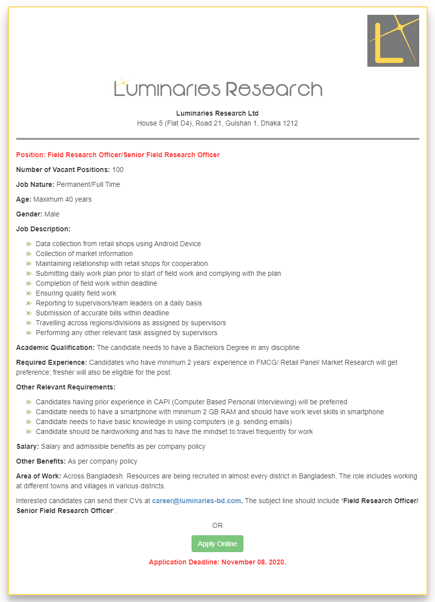 Luminaries Research Limited Job Circular