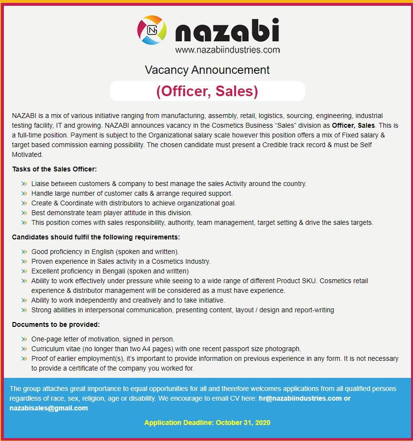 Nazabi Industries Job Circular