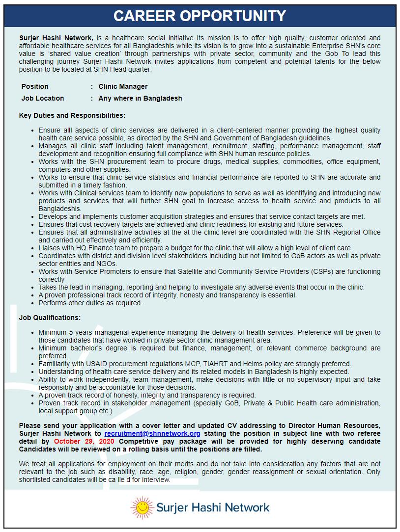 Surjer Hashi Network Job Circular 2020