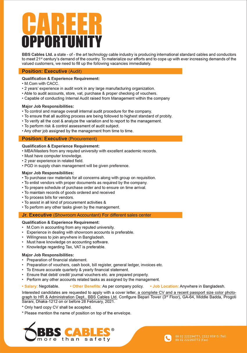 BBS CABLES Job Circular 2021