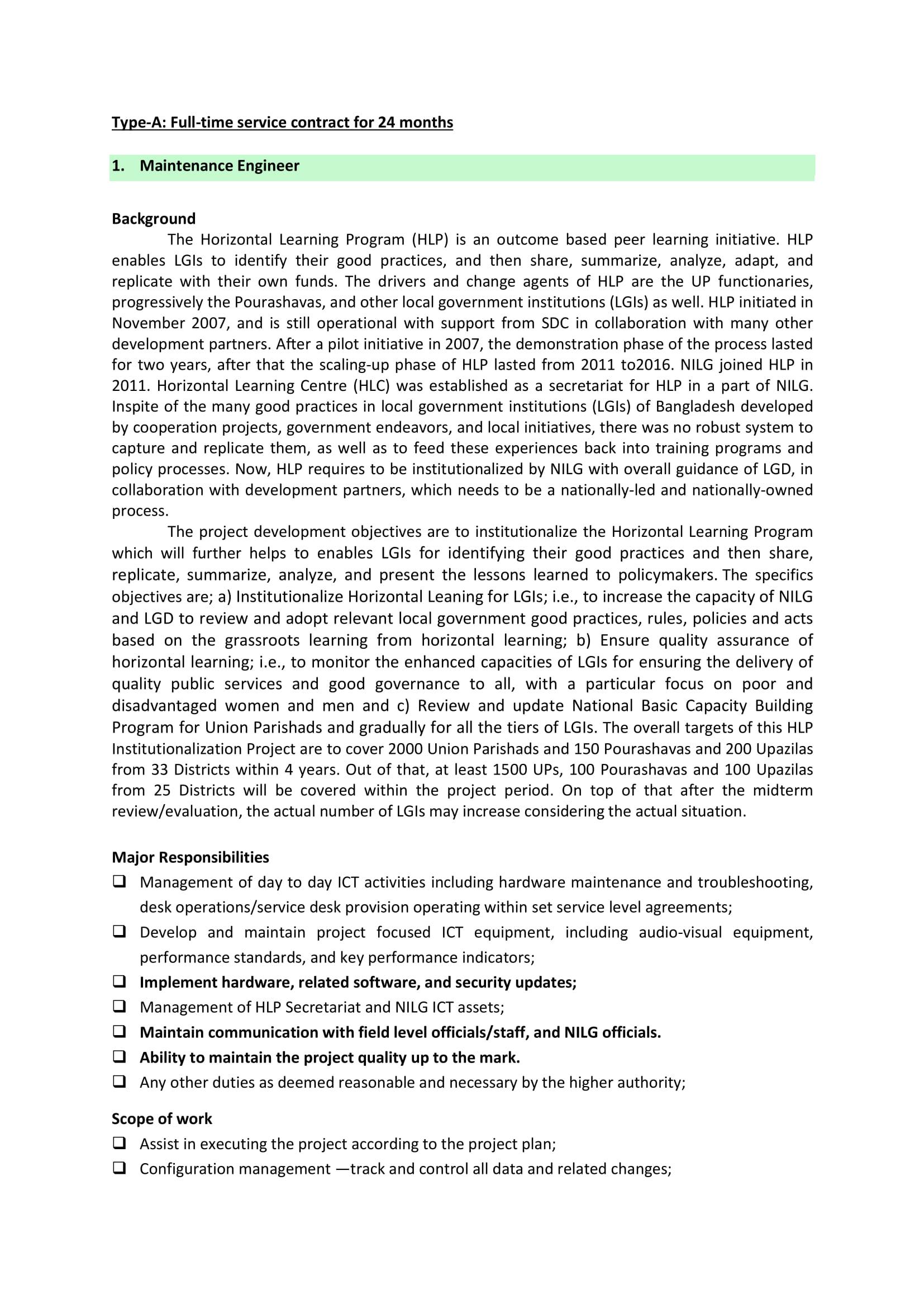 Horizontal Learning Program Job Circular 2021 - hlp.gov.bd