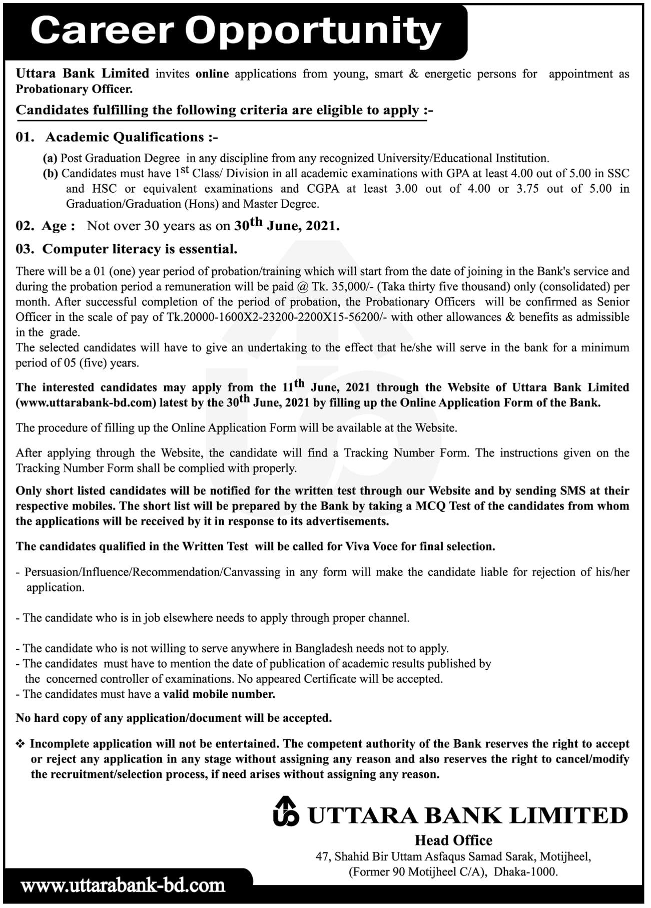 uttara-bank-limited-job-circular-2021