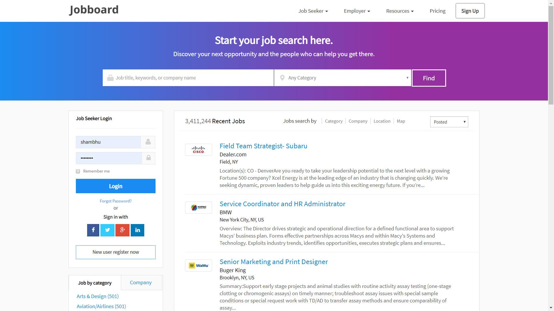 Company Recruitment site