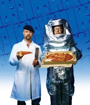 Jamie Hyneman y Adam Savage en el programa de televisión