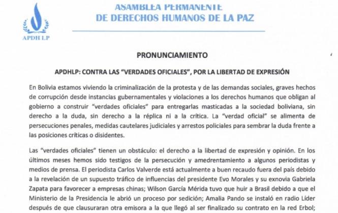 """APDHLP: El Gobierno amenaza las garantías democráticas por imponer su """"verdad oficial"""""""