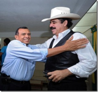 "Ousted Honduras President Manuel Zelaya (R) receives Honduran presidential candidaate for the National Party, Porfirio Lobo Sosa at the Brazilian embassy compound in Tegucigalpa, September 24, 2009. Ousted Honduras President Manuel Zelaya has been holed up in the Brazilian embassy in Tegucigalpa since Monday. Zelaya, who was deposed in an army-backed coup in June, however said Thursday that ""the dialogue has begun"" with the de facto government in a bid to seek a peaceful end to the country's political crisis.   AFP   PHOTO / Orlando  SIERRA"