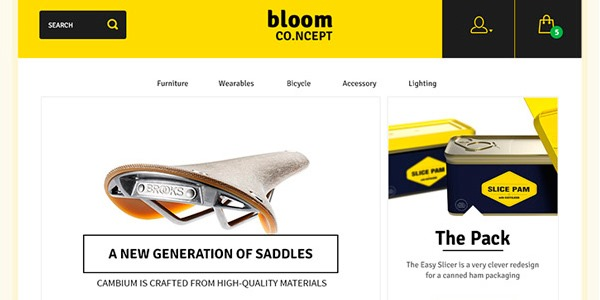 Bloom: Plantilla de ecommerce PSD