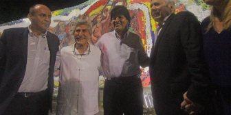Evo y Percy inauguran en Santa Cruz mural que refleja historia del oriente boliviano