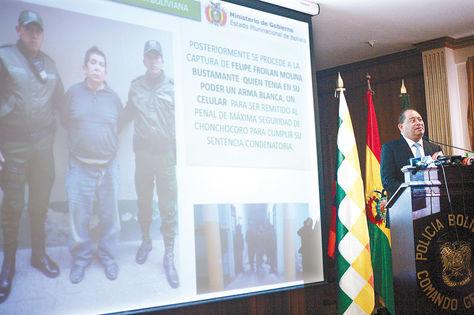 Informe. El ministro de Gobierno, Carlos Romero, da a conocer detalles de la captura de 'El Killer'.