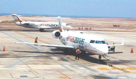 CHILE. Aviones de la empresa boliviana en el Aeropuerto Internacional Diego Aracena de Iquique. Foto: Amaszonas