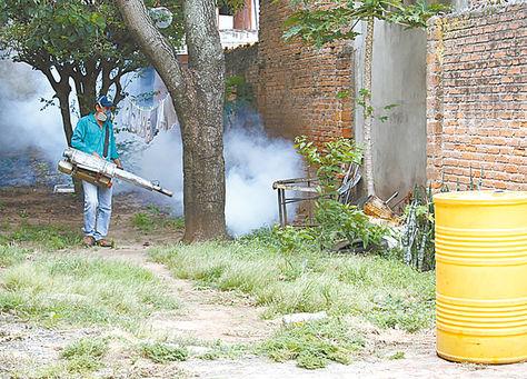 Prevención. Un funcionario del Sedes Santa Cruz fumiga un área.