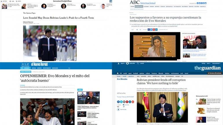 Los diarios del mundo reflejan el escándalo sexual y de tráfico de influencias que involucran al presidente de Bolivia, Evo Morales