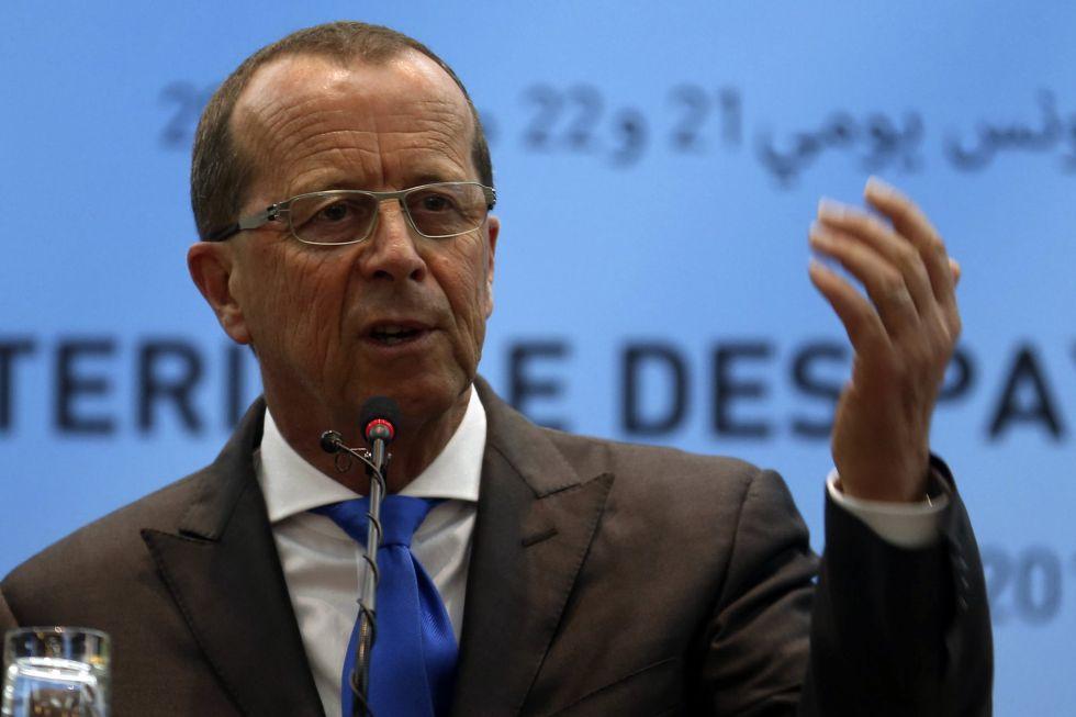 Martin Kobler, el enviado de la ONU para Libia, durante la rueda de prensa en Túnez.