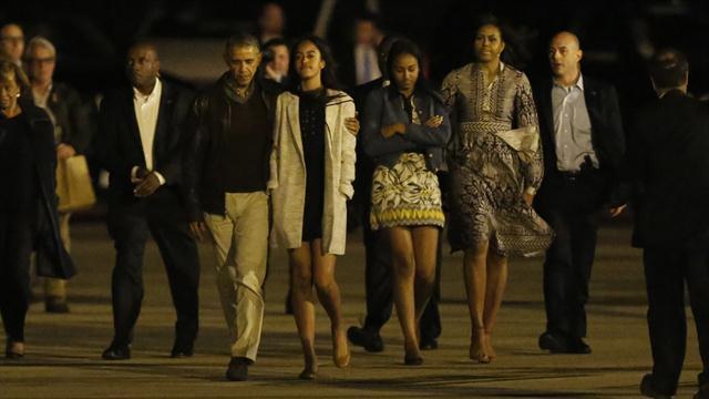 Obama junto a su familia en Ezeiza