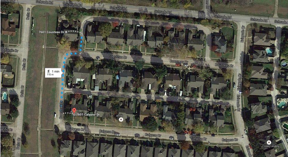 Una captura de Google Maps donde se muestran las dos direcciones que antes estaban mal indicadas. La casa que debía ser demolida estaba en el 7601 de la calle Coosteau de Rowlett (Texas, Estados Unidos), pero echaron abajo la del 7601 de Calypso