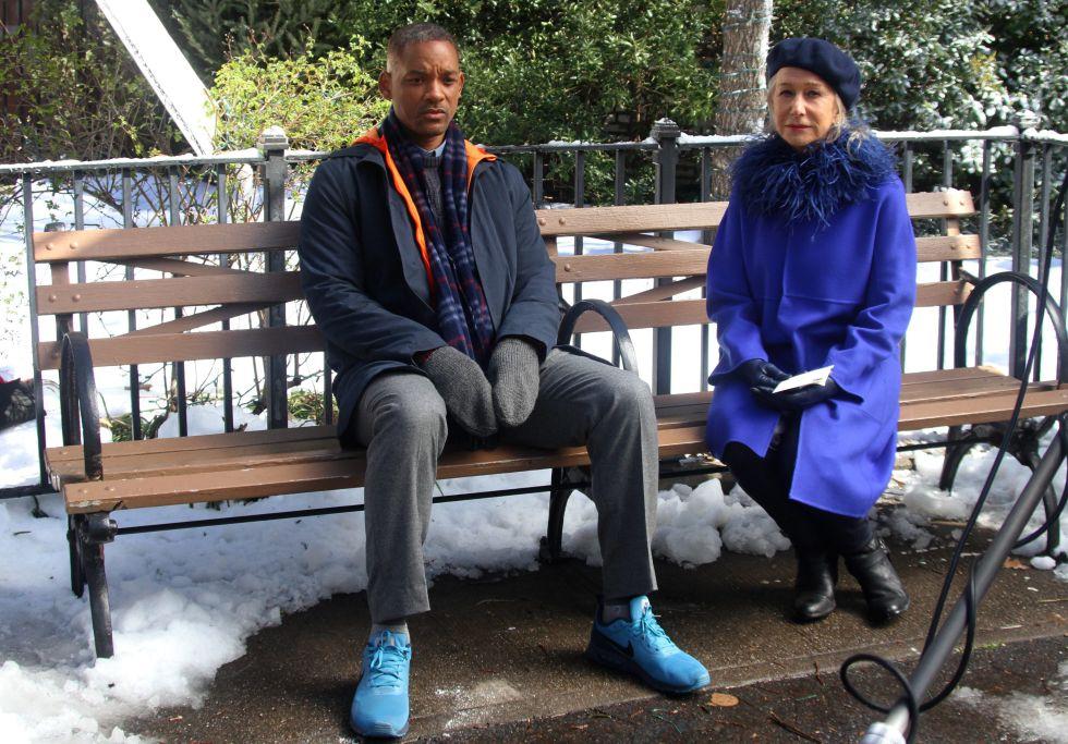 Will Smith y Helen Mirren durante el rodaje de su próxima película, 'Collateral Beauty'.