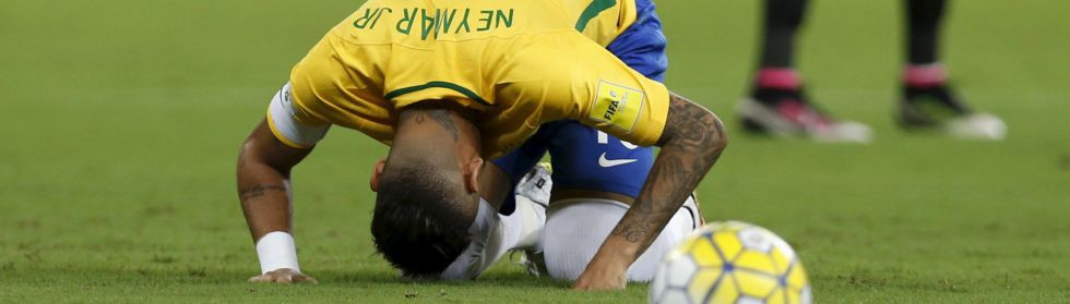 Neymar, durante un partido clasificatorio de Brasil.