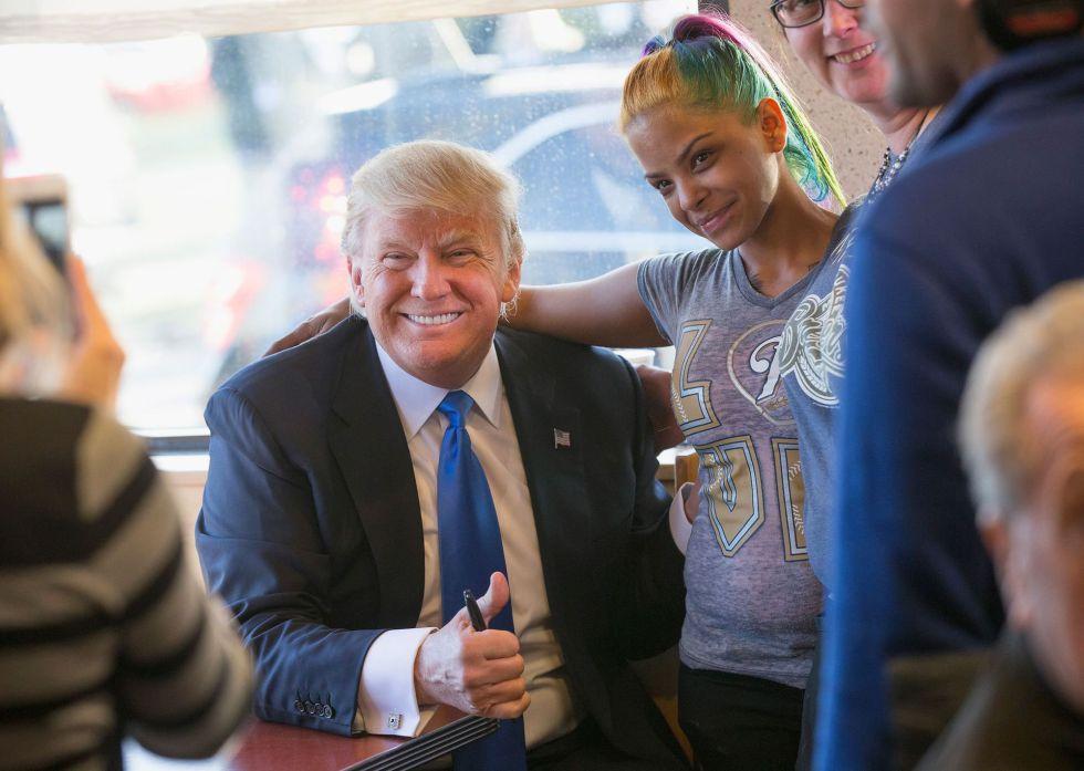 Donald Trump, en un restaurante en Wisconsin.